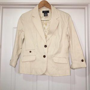 George by Mark Eisen Cream Corduroy Blazer Jacket